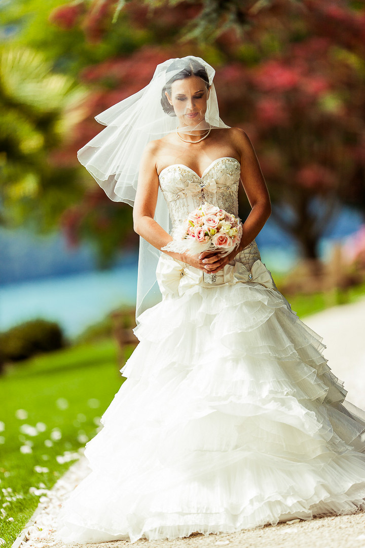 Bride on her way to outdoor ceremony