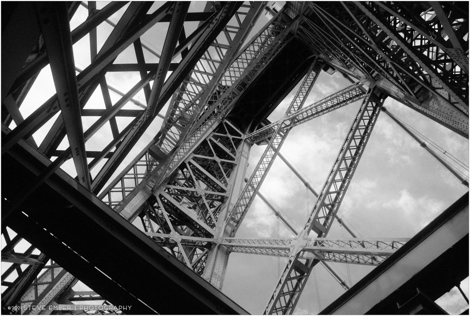Bridge Beams and Summer Sky - A Williamsburg Bridge Impression
