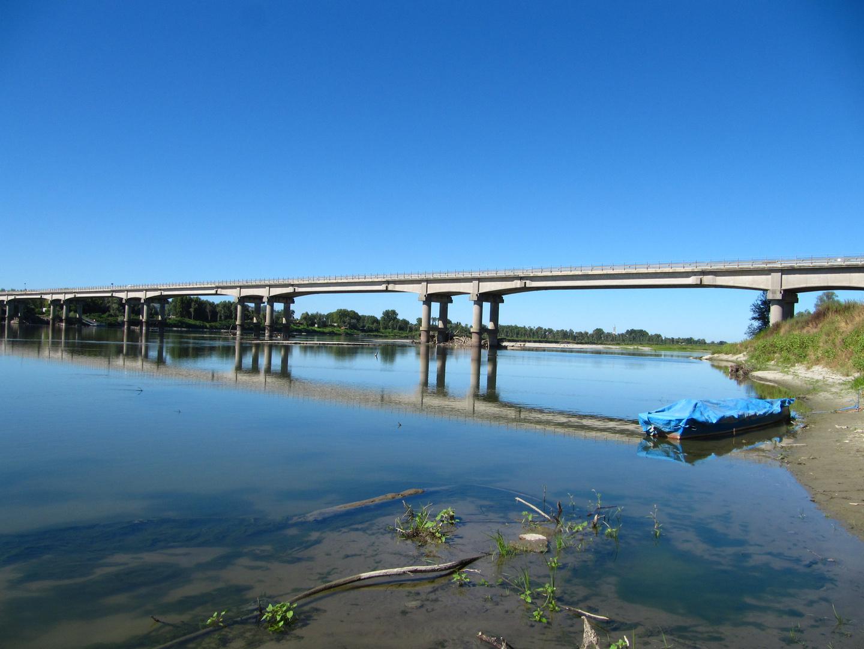 Bridge on Po River near San Zenone Po (Province of Pavia)