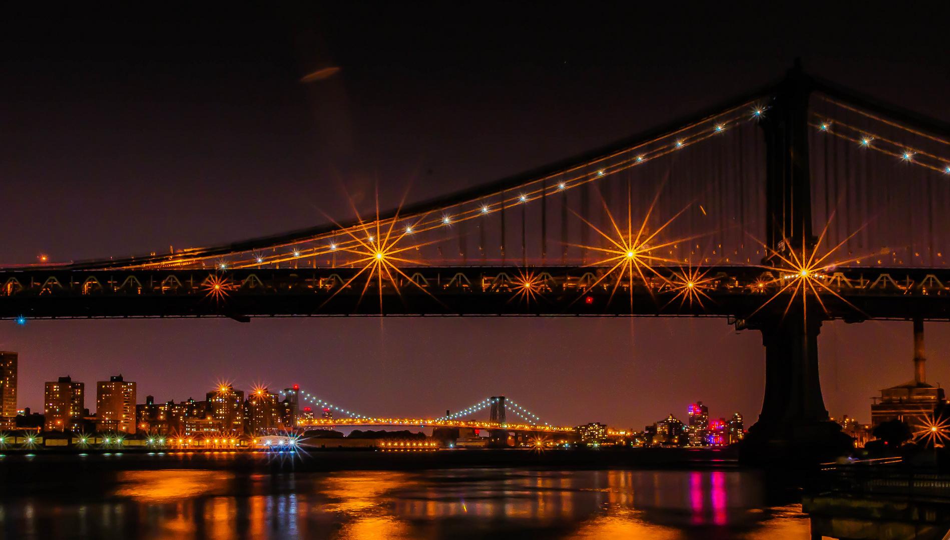 Bridges in NYC at Night