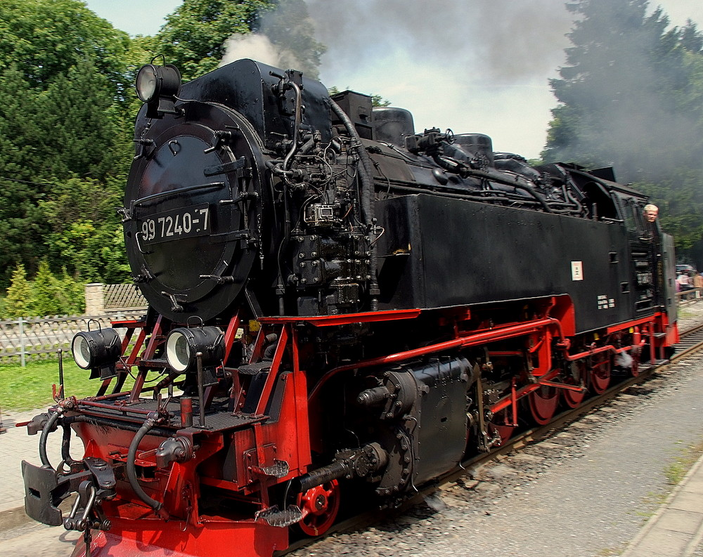 Brockenbahn Lokomotive beim rangieren