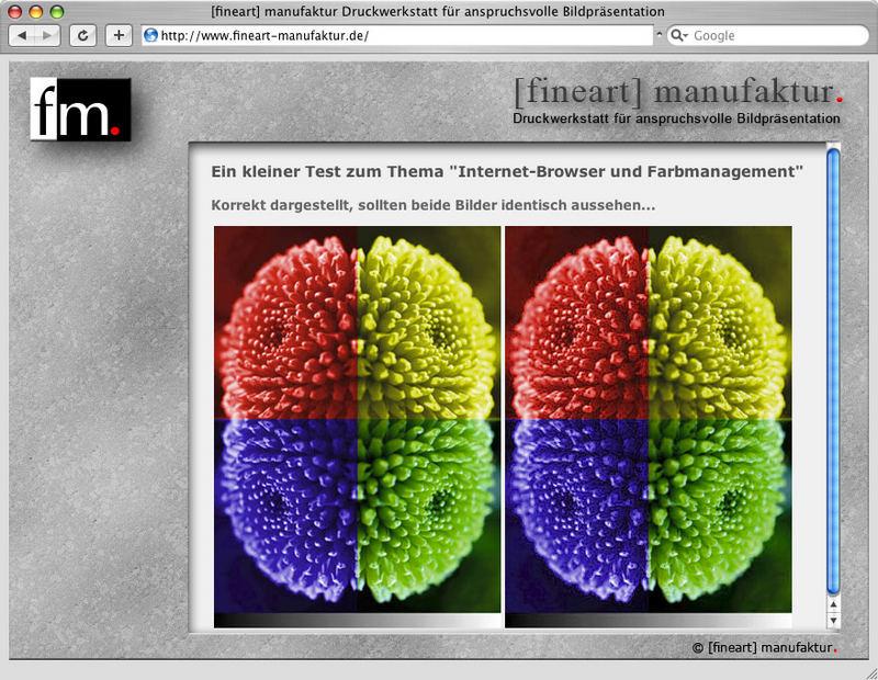 Browser und Farbmanagement: Safari