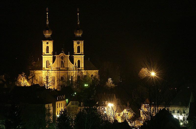 Bruchsal bei Nacht - Die barocke Peterskirche