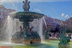 Brunnen am Rossio Platz Lisboa