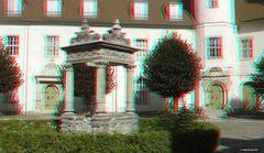 Brunnenhaus im Innenhof vom Schloss Wiesenburg....