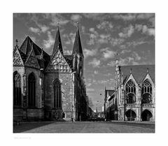 """Brunswick """" der Blick vom Altstadtmakt, auf das alte Rathaus, und der St. Martini """""""