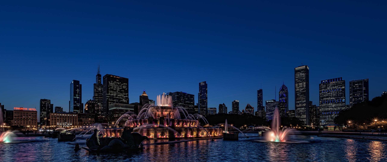 Buckingham Fountain zur Blauen Stunde