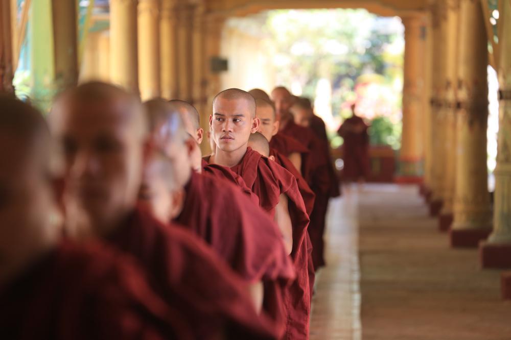 Buddhist monks in queue