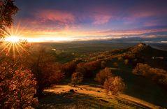 Burg Hohenzollern zum Sonnenuntergang