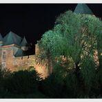 Burg Linn in Krefeld bei Nacht