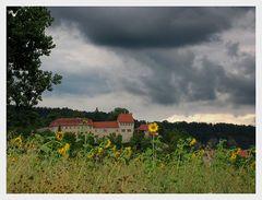 Burg und Sonnenblumen