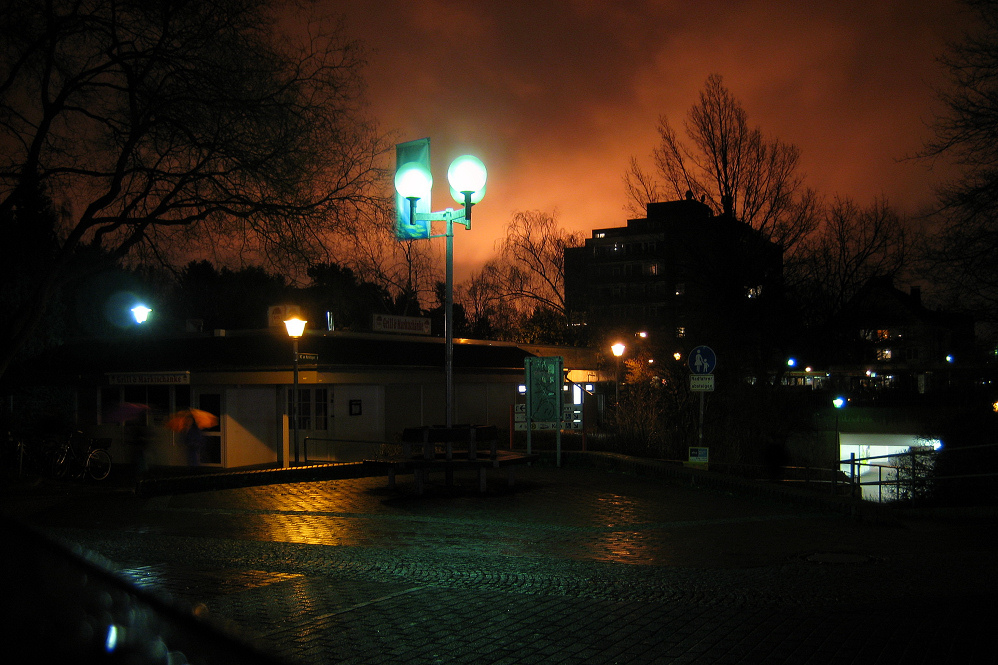 burning oil refinery near brühl illuminates firmament