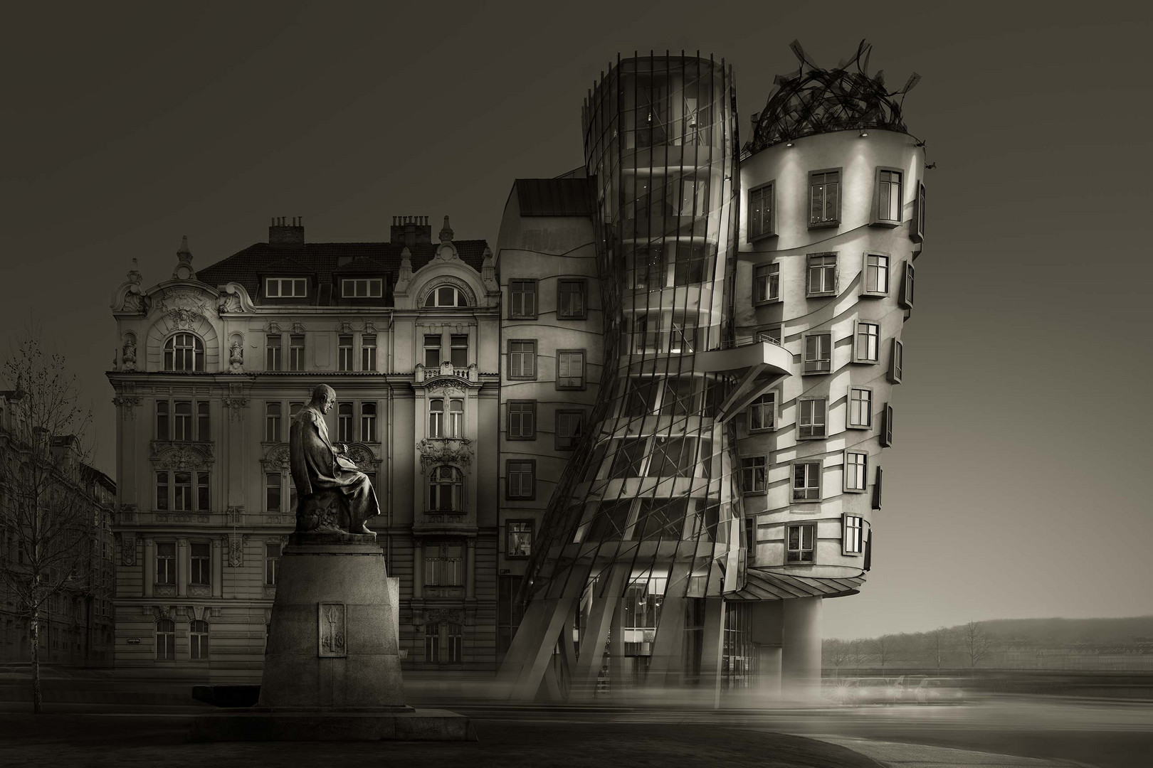 BW Version. Prague Building.
