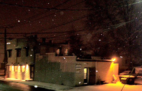 Cafe Mary Ave in the snow