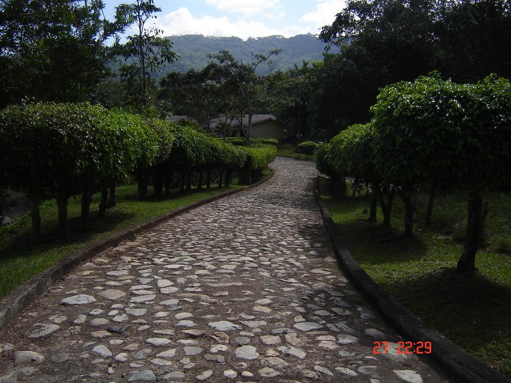 Camino empedrado en Tela, Honduras