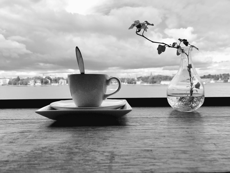 Cappuccino, Blaubeerkuchen, Meer,...
