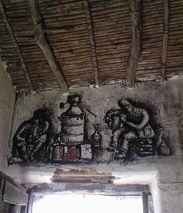 Carboncino su vecchie mura