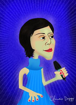 Caricatura Fernanda Takai -Claudio Doggy - Santa Felicidade - Curitiba - pr -photoshop - dibujo