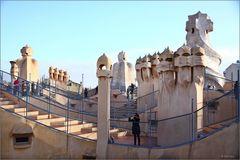 Casa Pedrera von Gaudi, auf dem Dach.