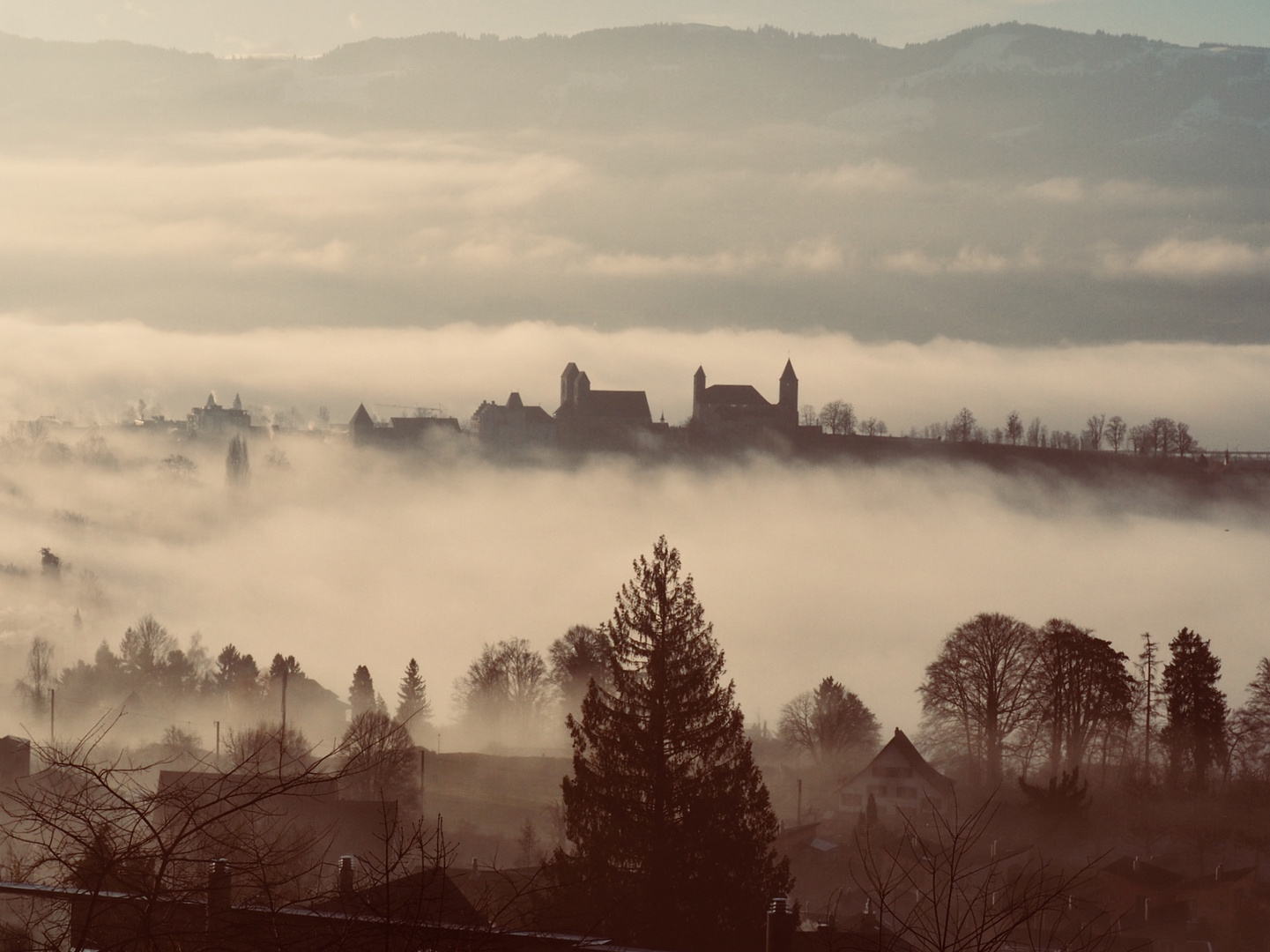 Castle of Rapperswil in fog