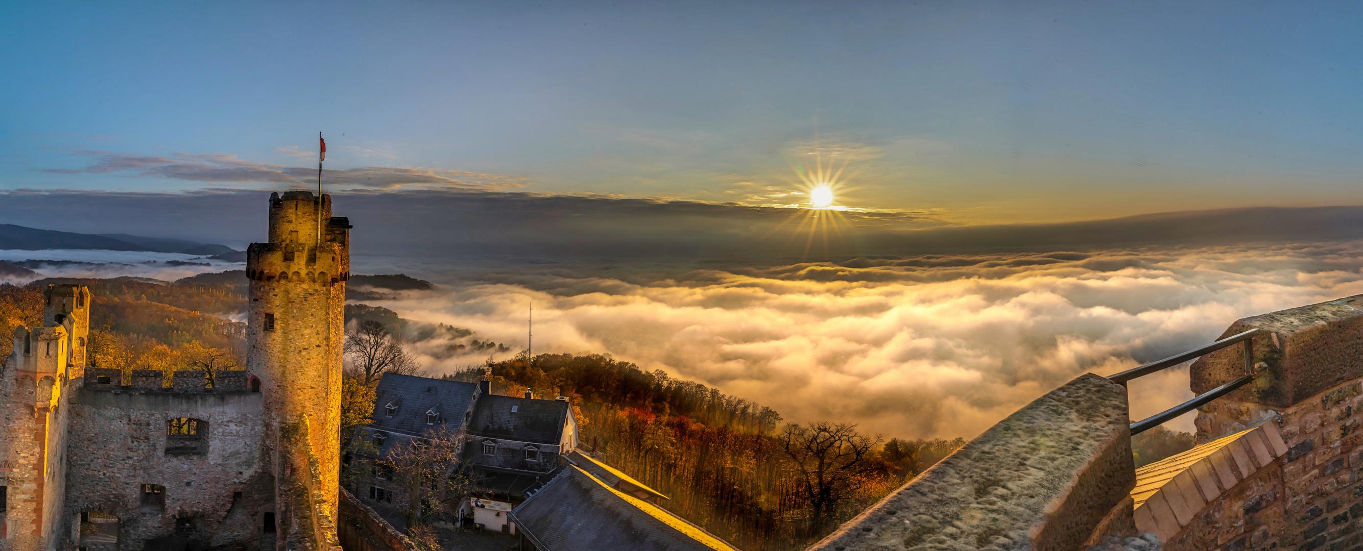 Castle over fog