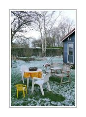 Chair baby, his parents and friend lawnmower were caught by surprise by the sudden Easter snow