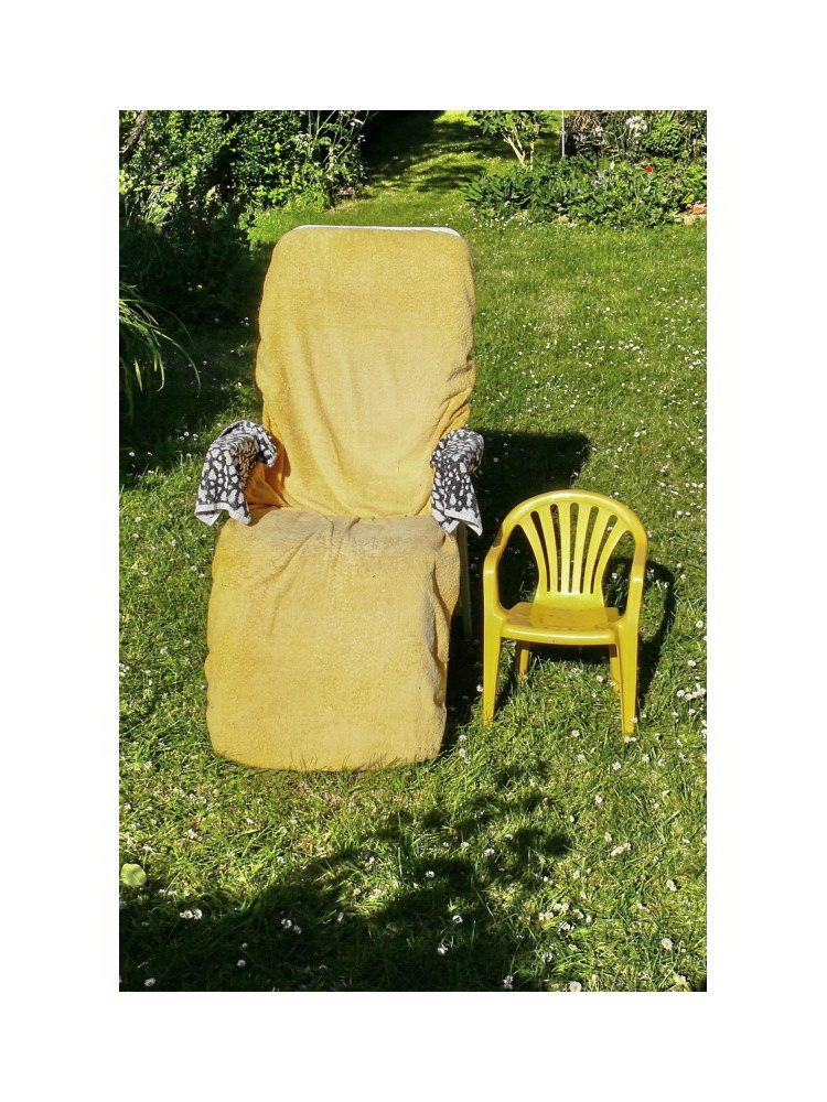chair baby sunbathing with oma
