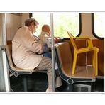 chair baby takes the schwebebahn to the city (Elberfeld)