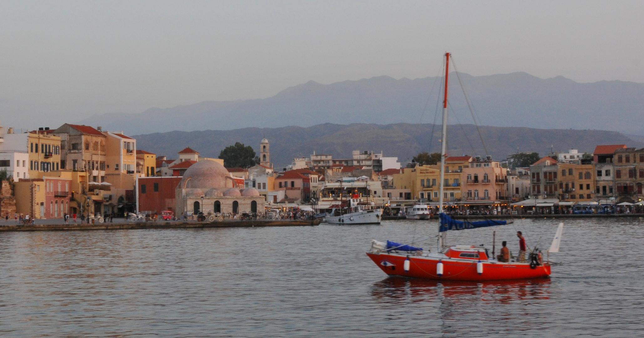 Chania Hafen am Abend