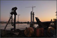 chantier au matin
