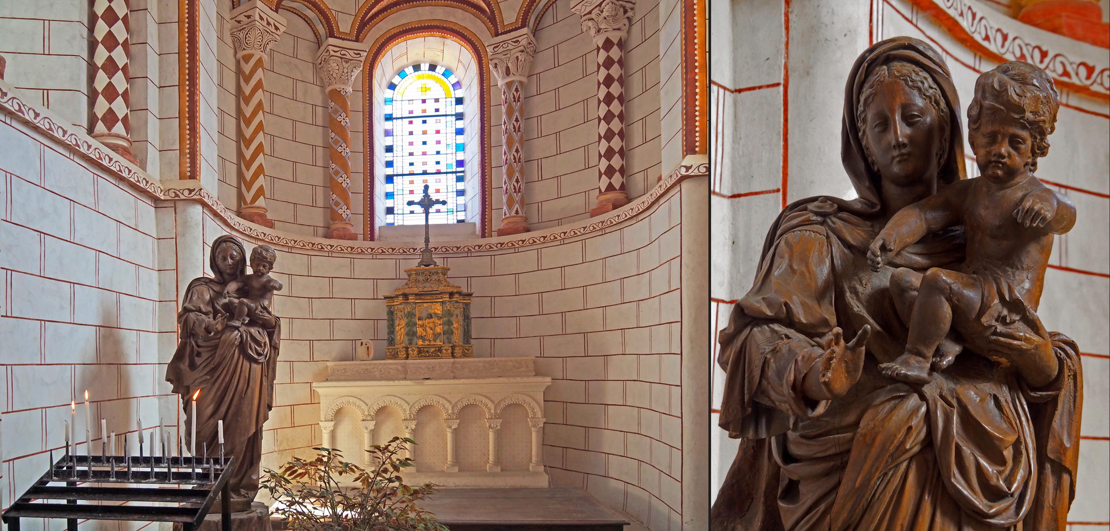 Chapelle axiale et détail de la Vierge à l'enfant