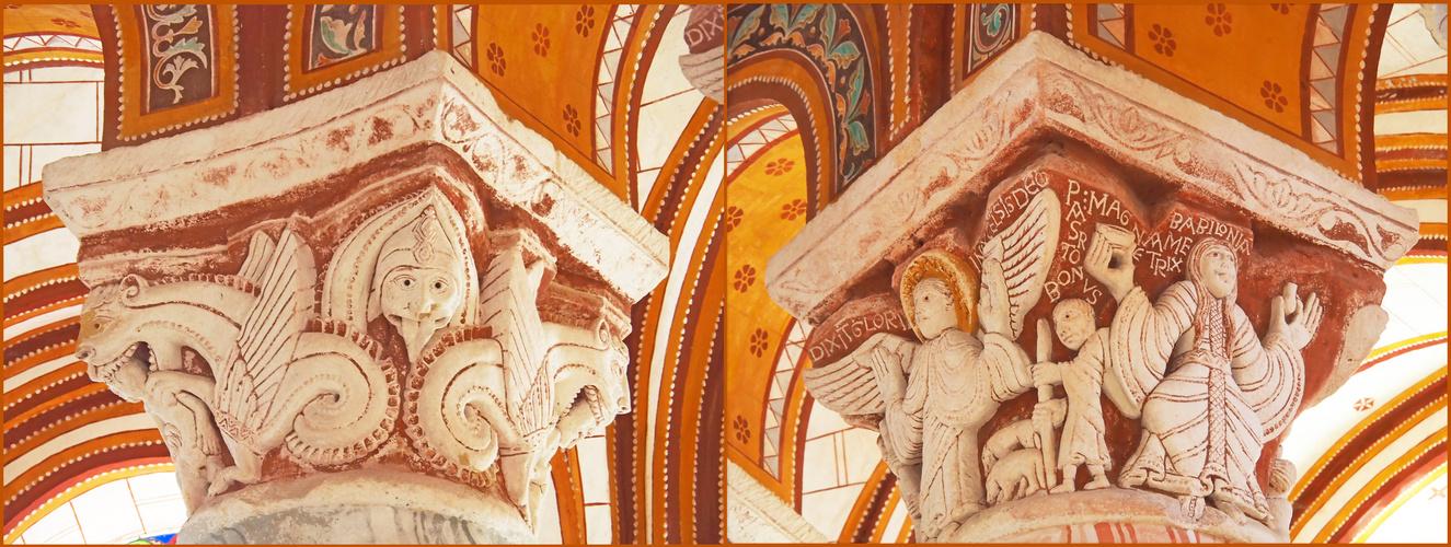 Chapiteaux du chœur de l'Eglise Saint-Pierre de Chauvigny