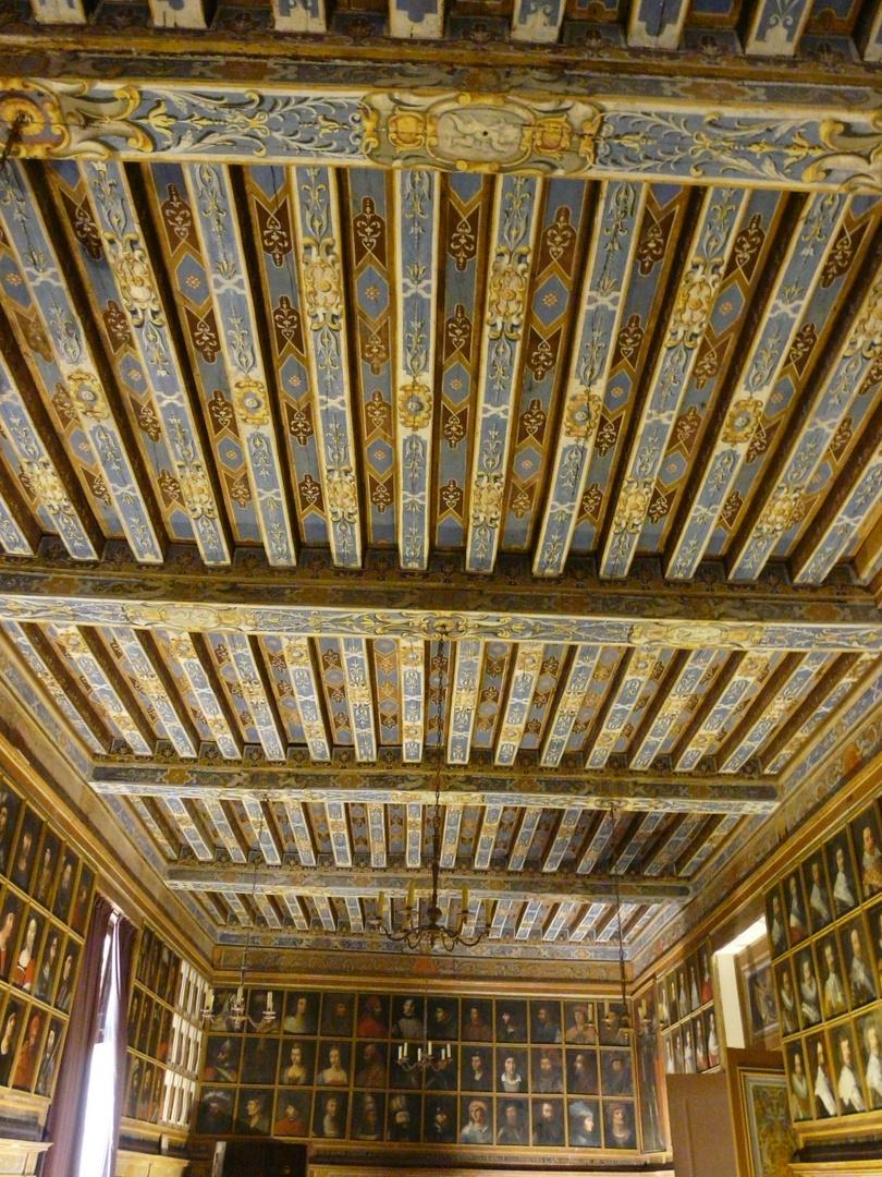 Chateau de Beauregard :plafond de la salle des portraits.
