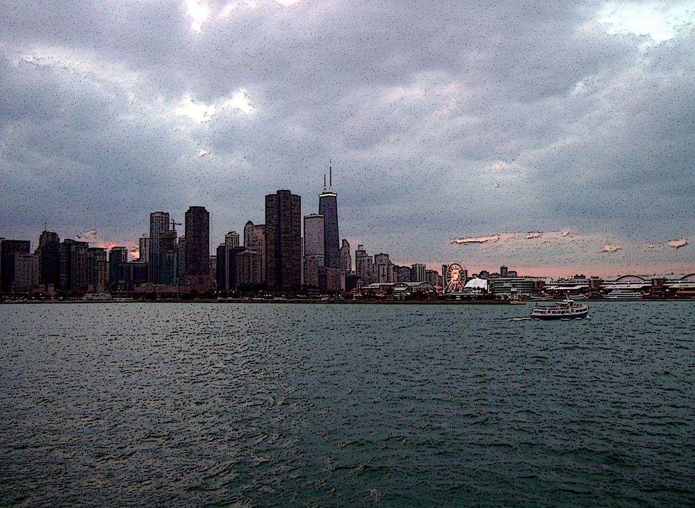 Chicago Skyline II (als Komikzeichnung verfremdet)