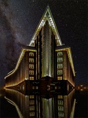* Chilehaus in front of the Milky Way *