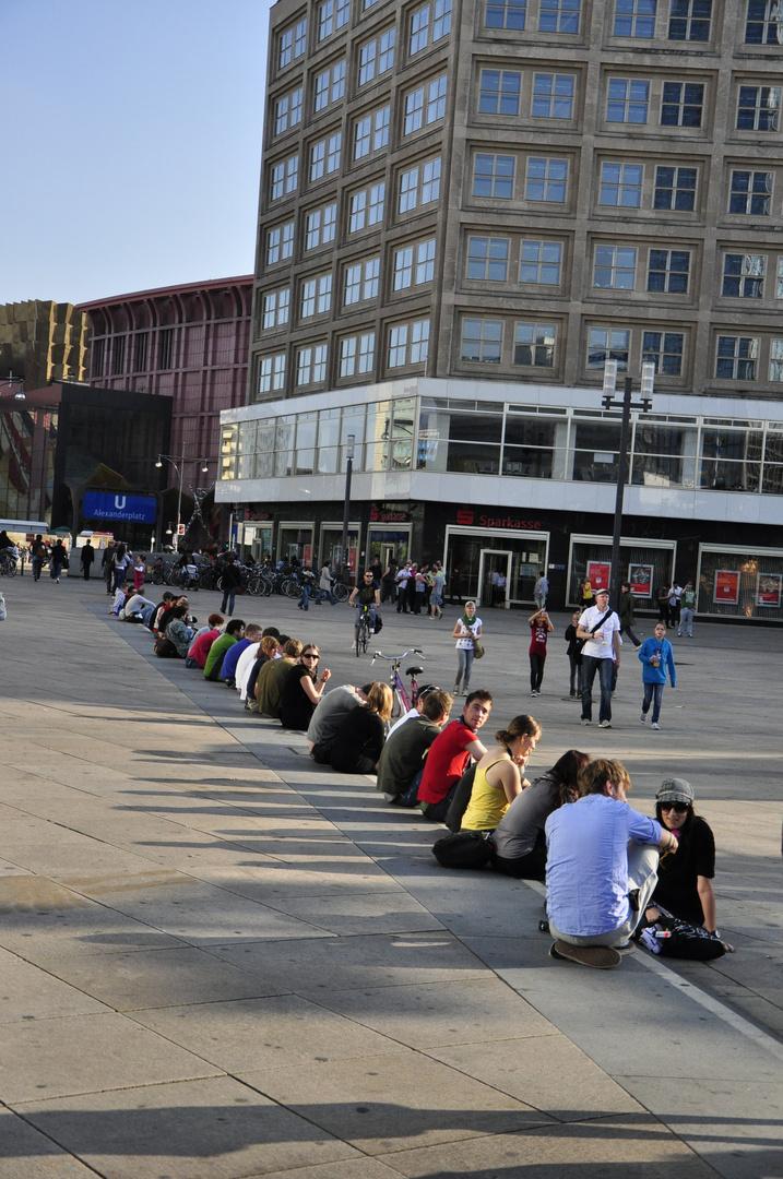 Chilling in my snuggie, Alexanderplatz, Berlin