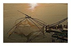 Chinesisches Fischernetz am Mekong