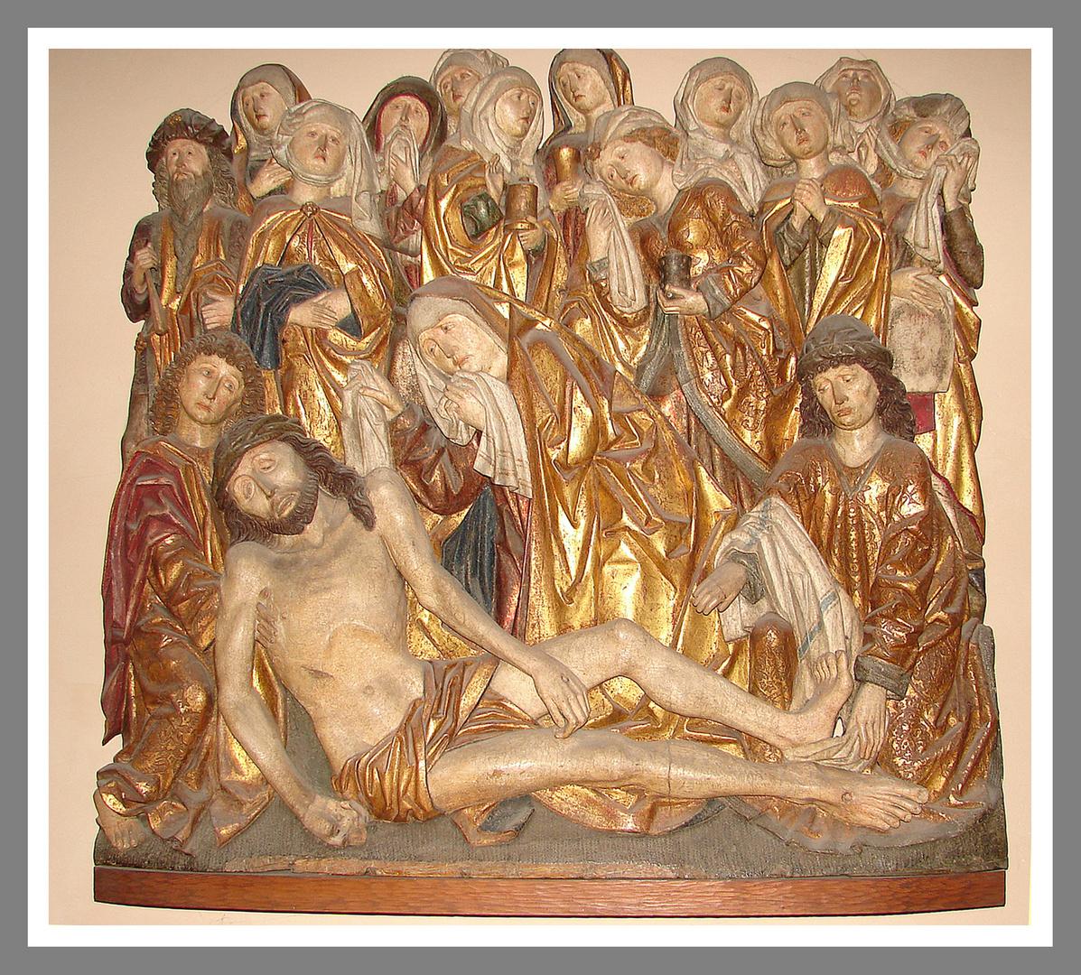 Christus wird vom kreuz genommen und von den frauen beweint -