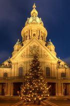 Christuskirche Mannheim an Weihnachten