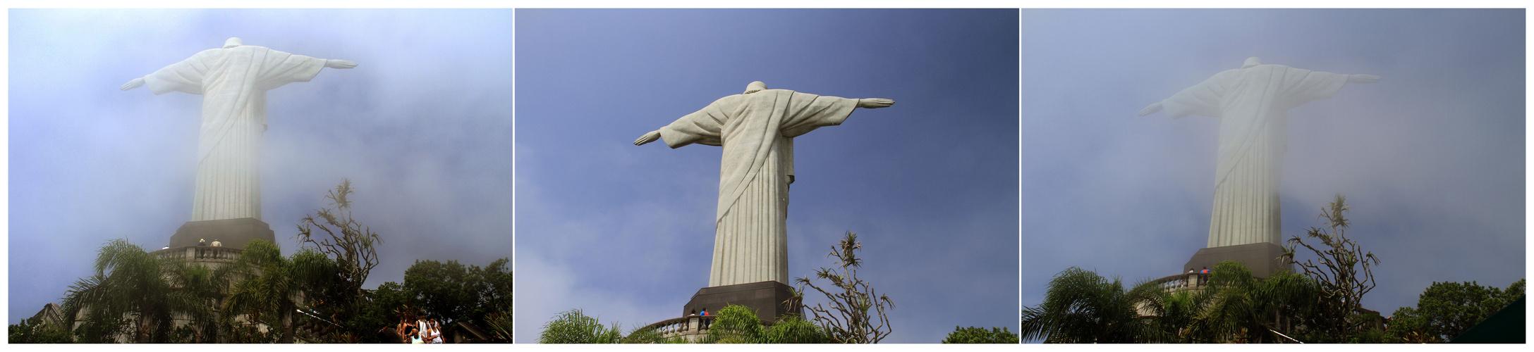 Christusstatue, von Wolken  umspielt