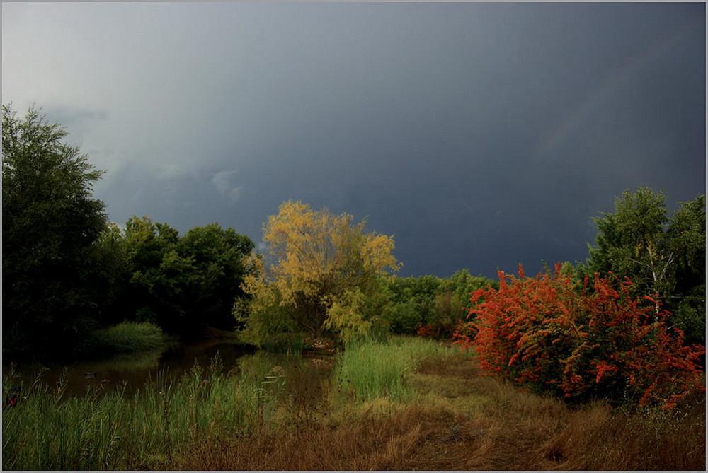 ciel d'orage et arc en ciel