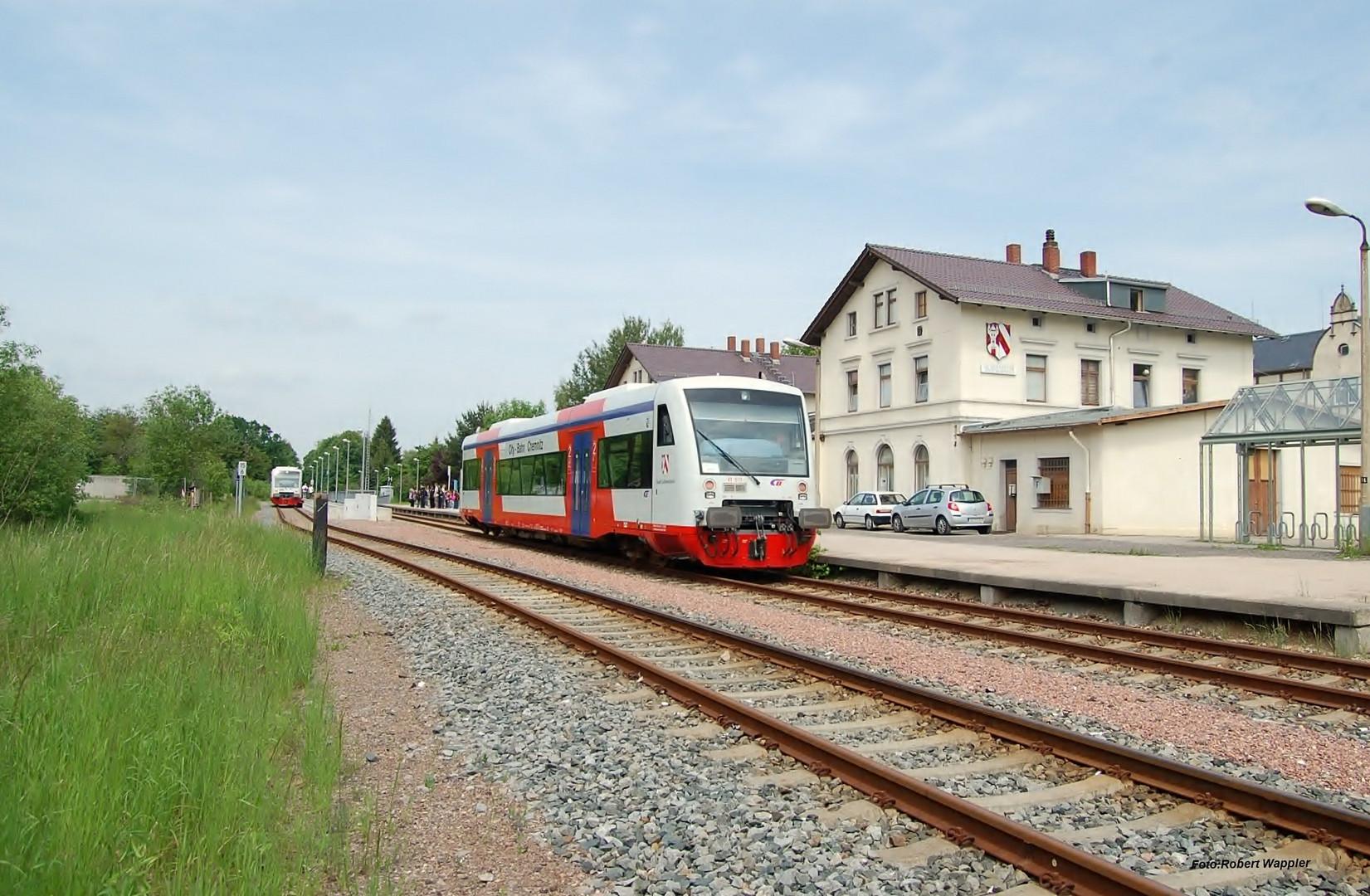 Citybahn Chemnitz in Lichtenstein Bahnhof