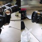 cleaning the microscope