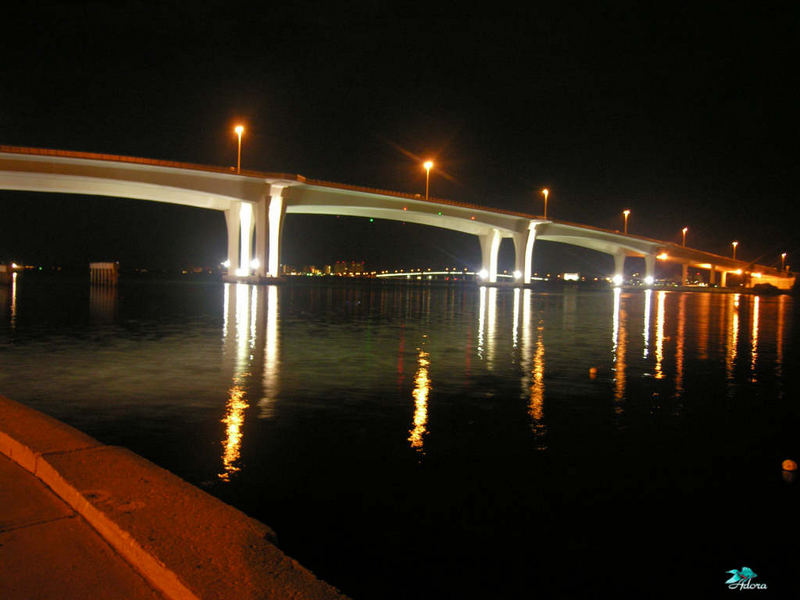 Clearwater beach brige at night 8-006