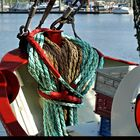 Coiled ropes on a fishing boat in Greetsiel