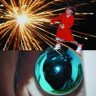 Collage Anny mit adidas  auf Kugel Higru Feuerwerk