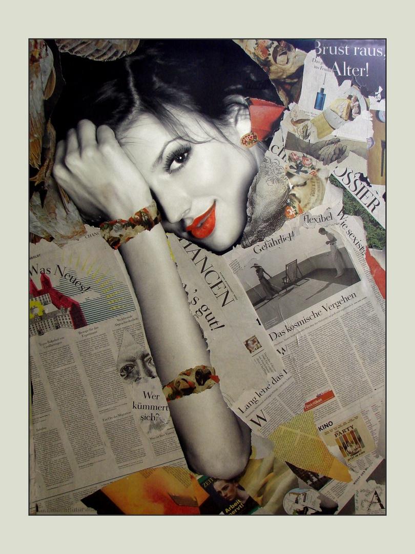 Collage Auf Leinwand Foto Bild Collagen Frau Zeitung Bilder