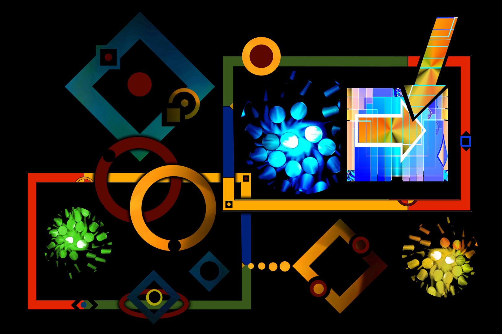 Collage mit Formen und Farben