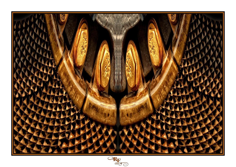 Collage vom Kühler eines Lanz-Bulldog gespiegelt und verformt