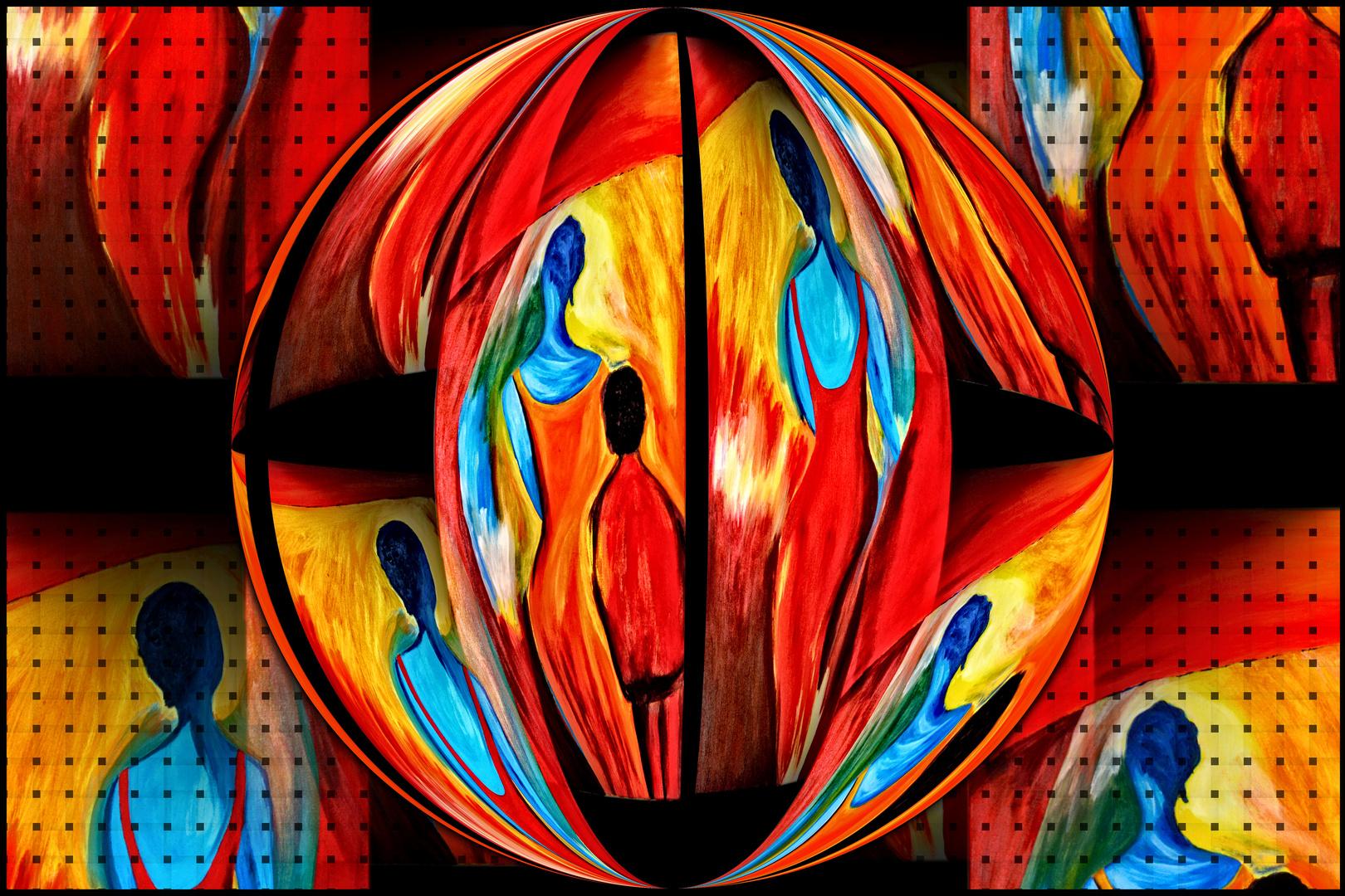 Collage von einem von meiner Frau gemaltem Diptychon